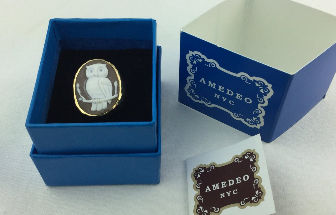 Hammered Bronze Cameo Owl Ring by Amedeo NYC