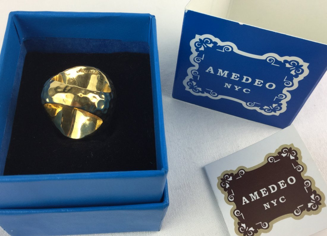 Hammered Bronze Cameo Owl Ring by Amedeo NYC - 2