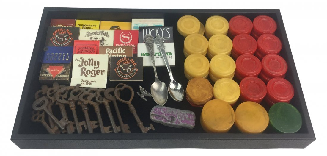 Estate Man Trinkets, Bakelite chips, matchbooks, keys