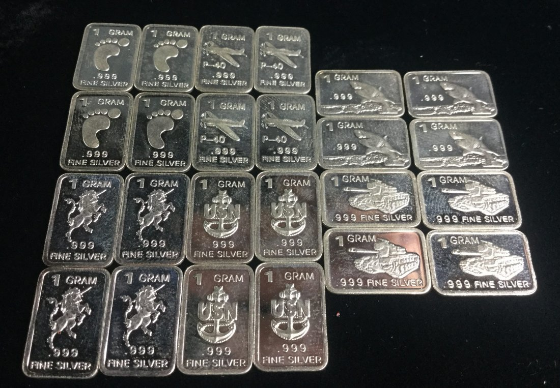24 Fine Silver. 999 1 Gram Bars with Awesome Graphics