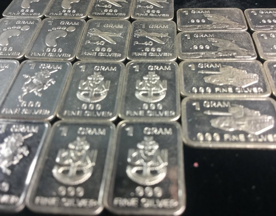24 Fine Silver. 999 1 Gram Bars with Awesome Graphics - 2