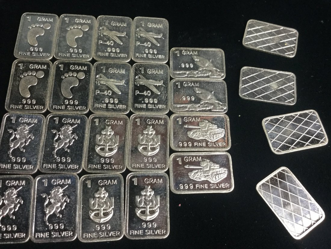 24 Fine Silver. 999 1 Gram Bars with Awesome Graphics - 3