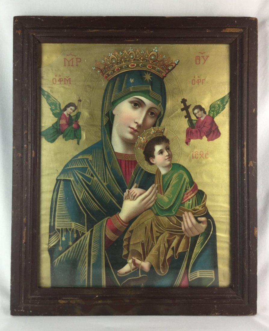 19th Century Gold Leaf Byzantine Hand Painted Icon