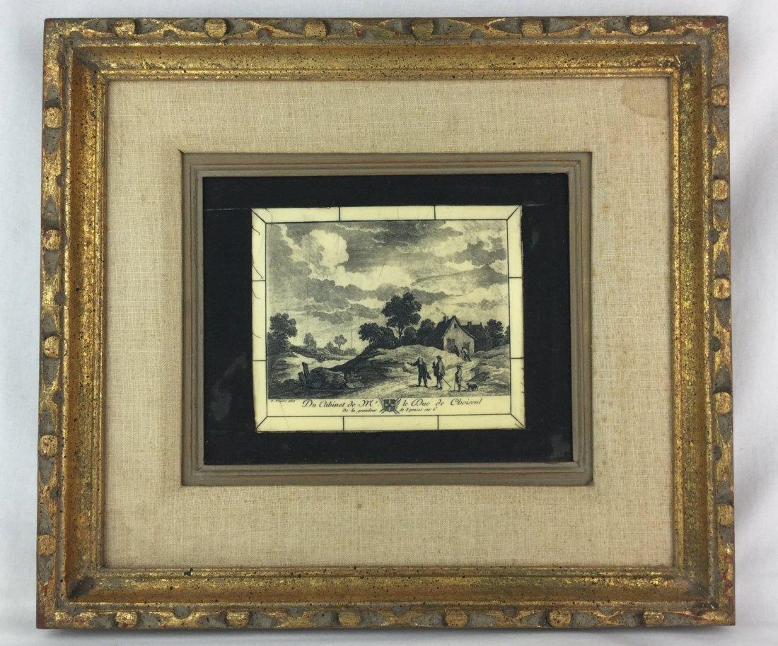 D. Teniers Pinx Porcelain Plaque with Ornate Frame