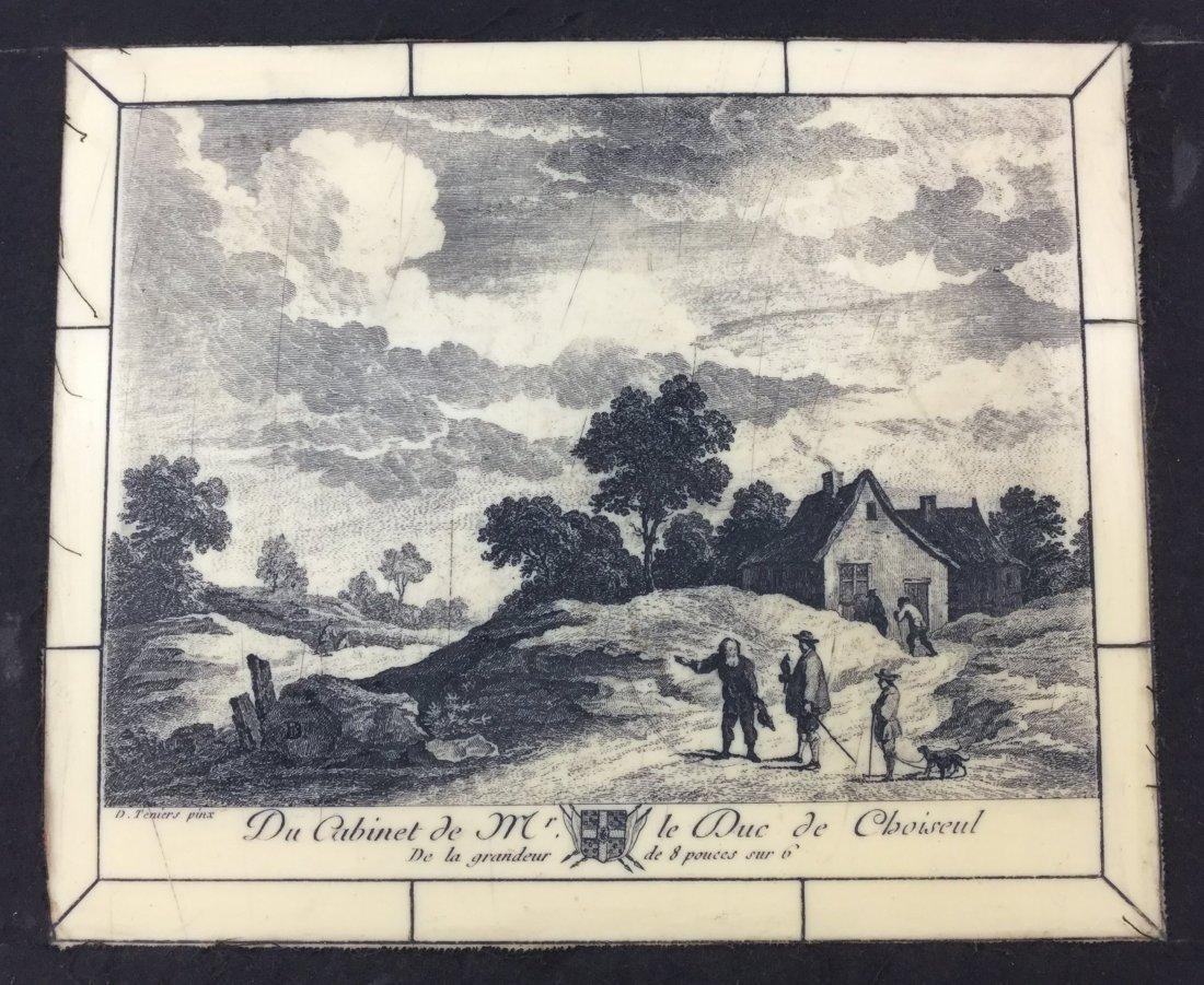 D. Teniers Pinx Porcelain Plaque with Ornate Frame - 2