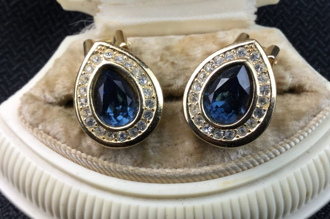 Christian Dior Signed Topaz Earrings