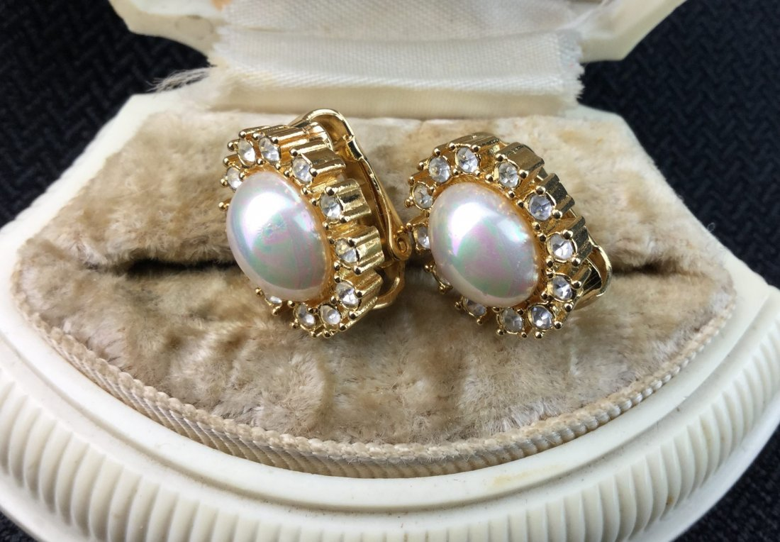 Christian Dior Pearl & Rhinestone Earrings