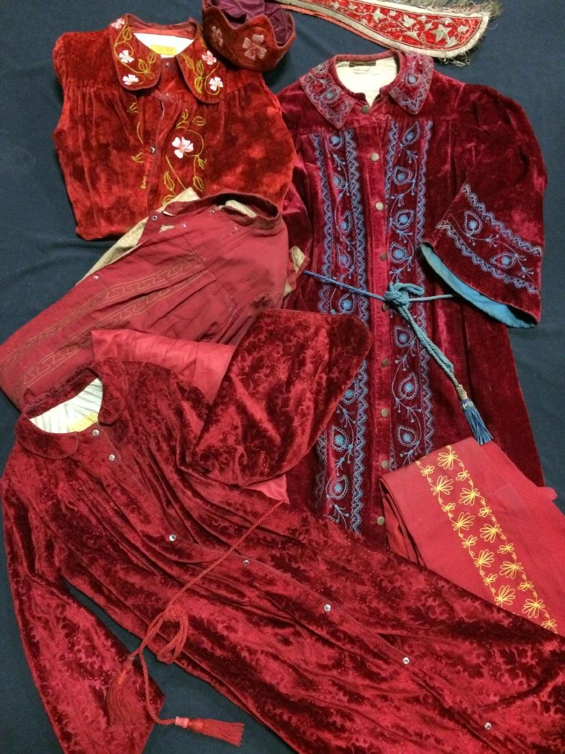 9 Pieces Red Velvet & Silk Odd Fellows Costume Clothing