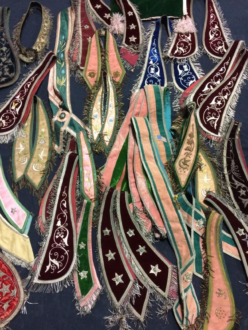 40+ Pieces Odd Fellows Collars, Sashes, Shawls