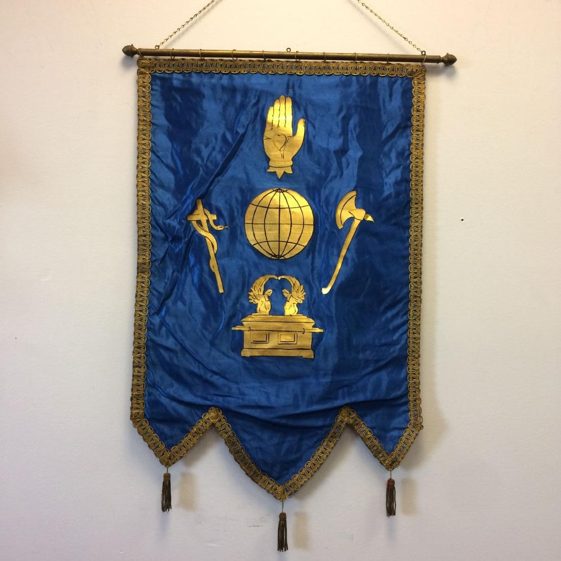 Odd Fellows Blue Silk Ceremonial Banner