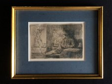 Rembrandt THE GOLF PLAYER 1654 Antique Framed Etching