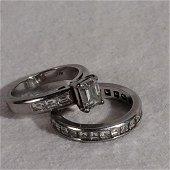 Stunning Diamond and Platinum Engagement Ring Set --
