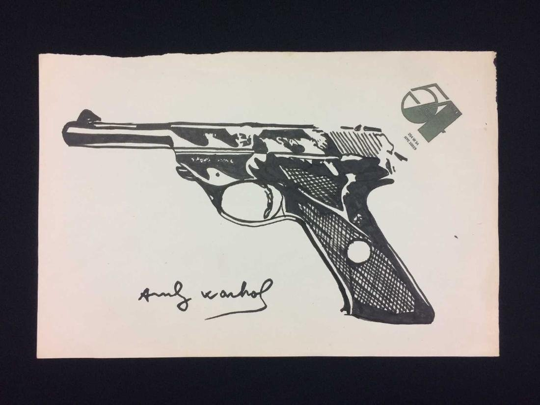Original Ink on Paper Drawing Signed 'Andy Warhol' --