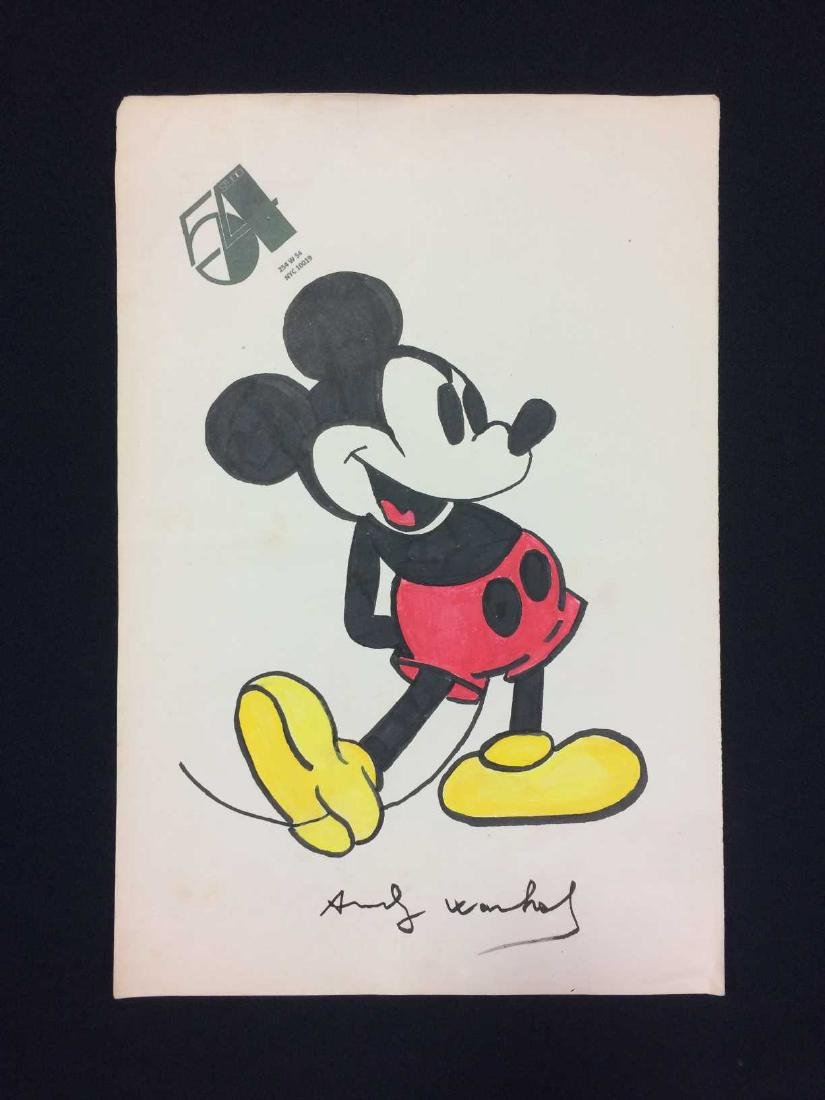 Original Ink Drawing on Paper Signed 'Andy Warhol' --
