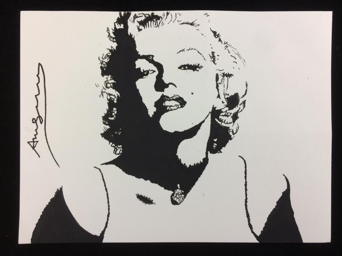 Original Ink on Cardstock Signed ''Andy Warhol'' -- Pop