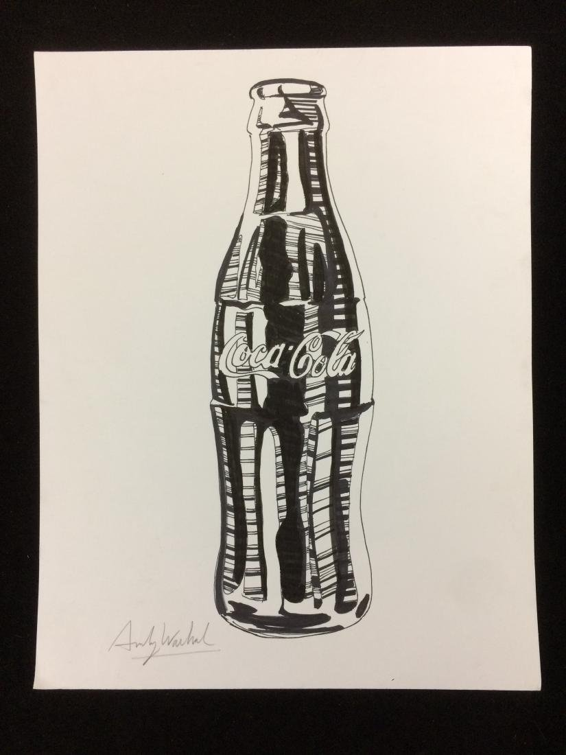 Original Ink Drawing on Cardstock Signed ''Andy