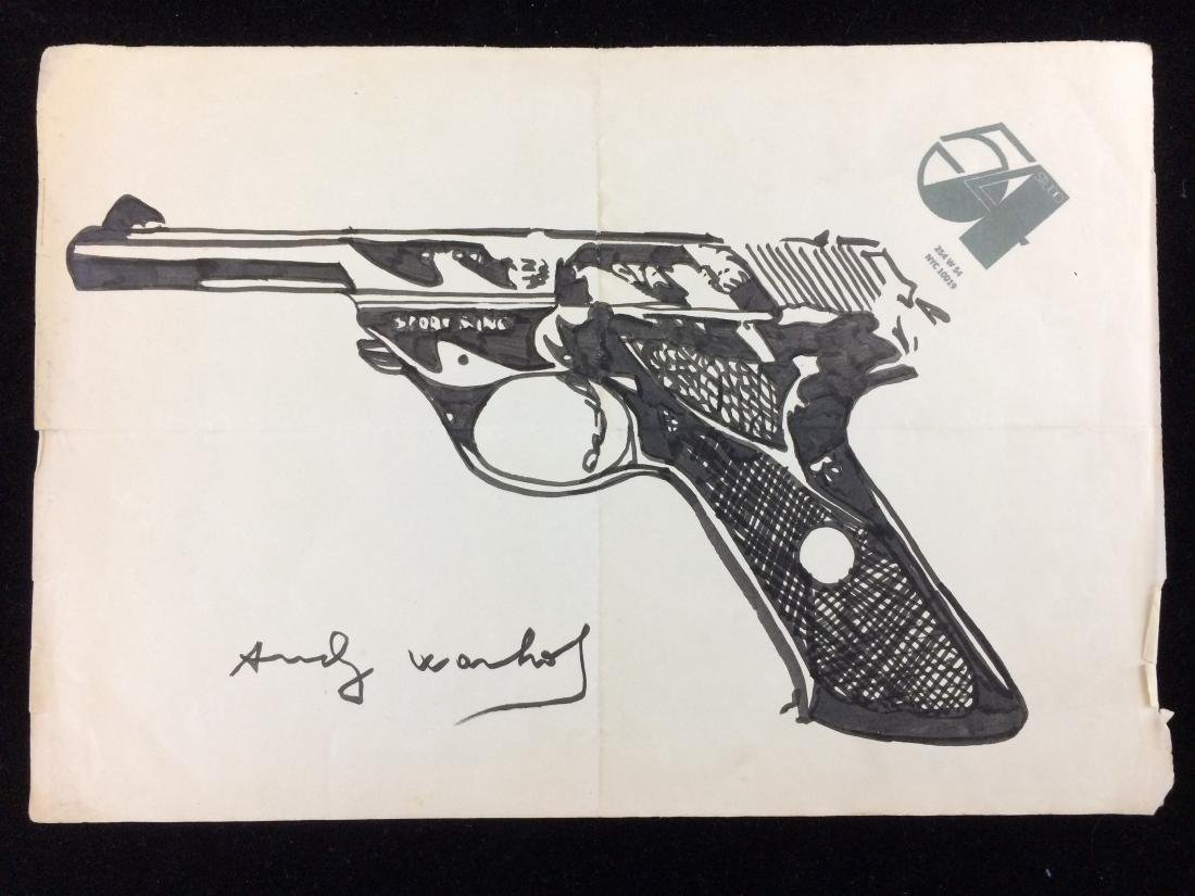Original Ink Drawing on Paper Signed ''Andy Warhol'' --