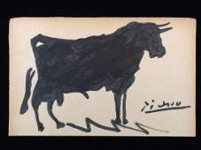 Original Watercolor on Paper Signed ''Picasso'' -- Bull