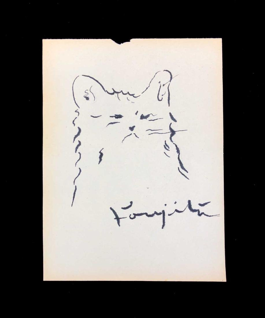 HAND DRAWN Ink on Paper signed 'Foujita' Cat