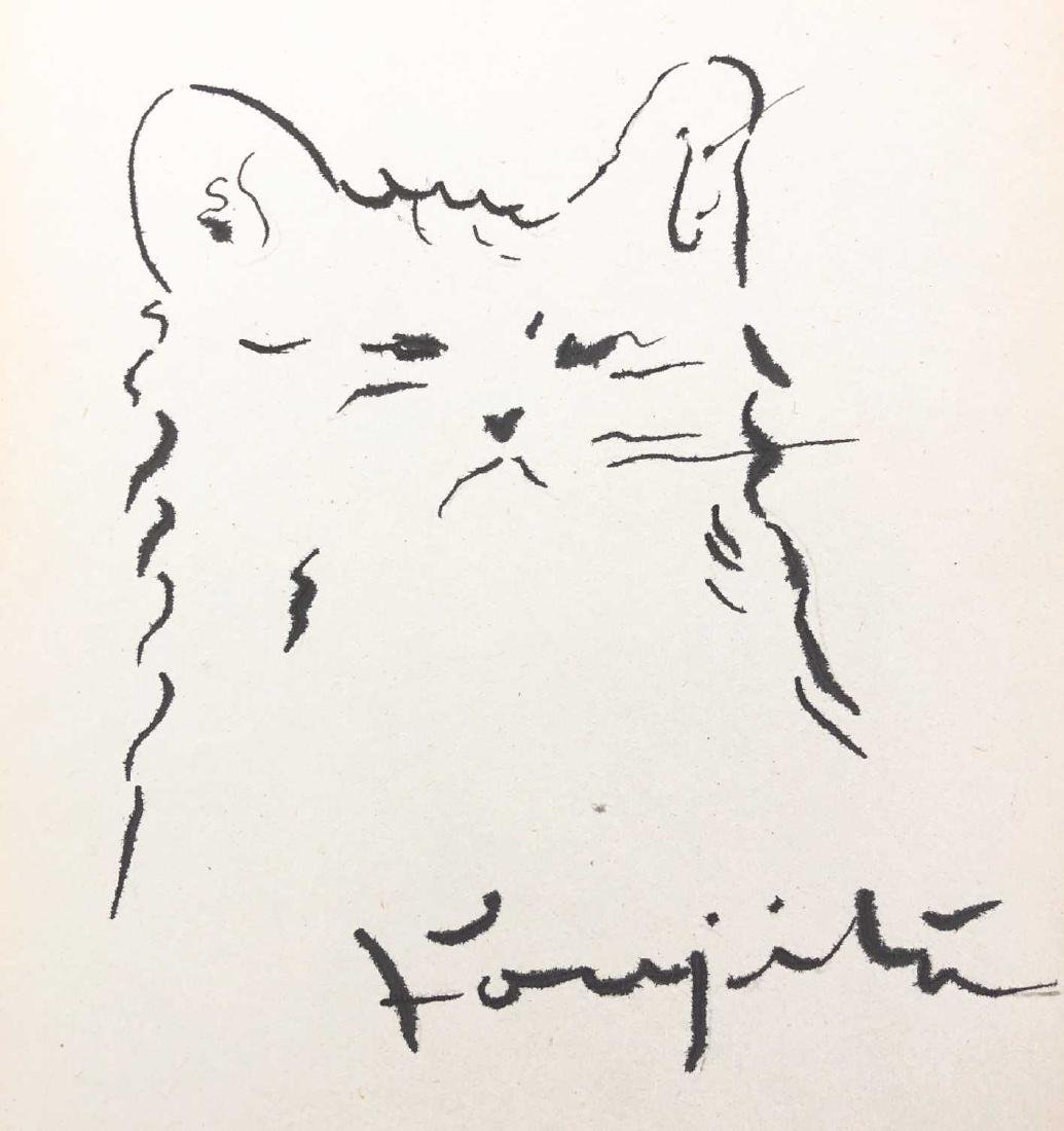 HAND DRAWN Ink on Paper signed 'Foujita' Cat - 2