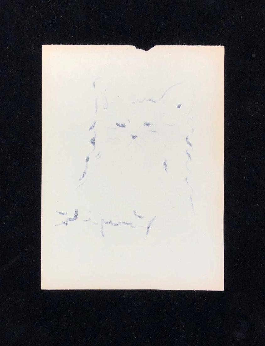 HAND DRAWN Ink on Paper signed 'Foujita' Cat - 3