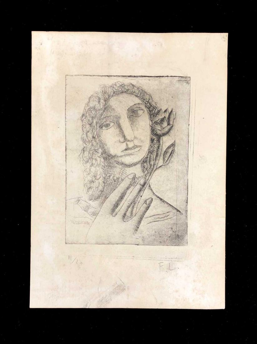HAND SIGNED Aquatint Engraving on Paper signed ''F.L.''
