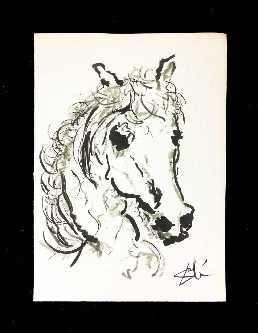 Original HAND DRAWN Ink on Paper Signed ''Dali'' Horse