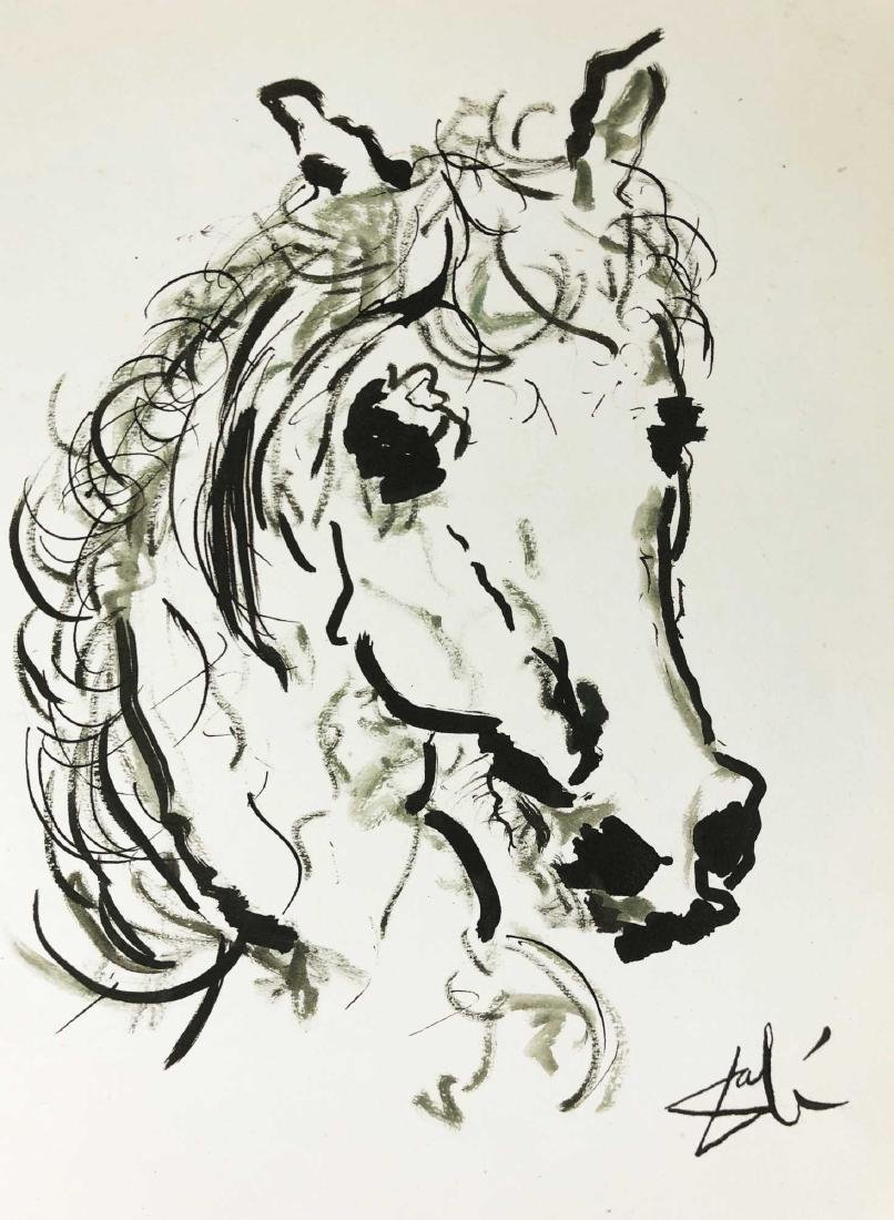 Original HAND DRAWN Ink on Paper Signed ''Dali'' Horse - 2