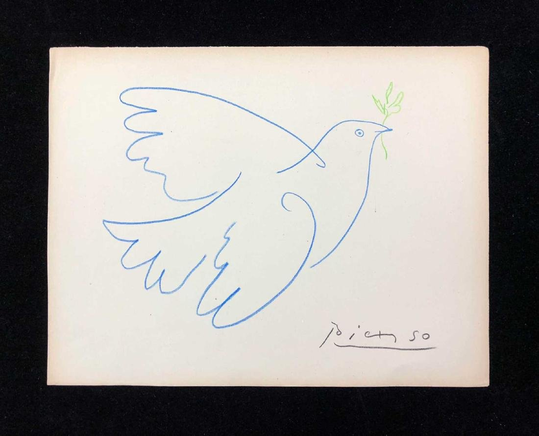 HAND DRAWN Peace Dove Signed ''Picasso''