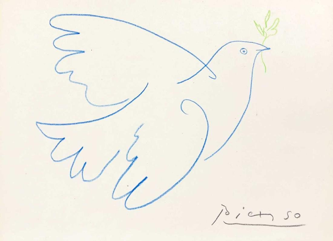 HAND DRAWN Peace Dove Signed ''Picasso'' - 2