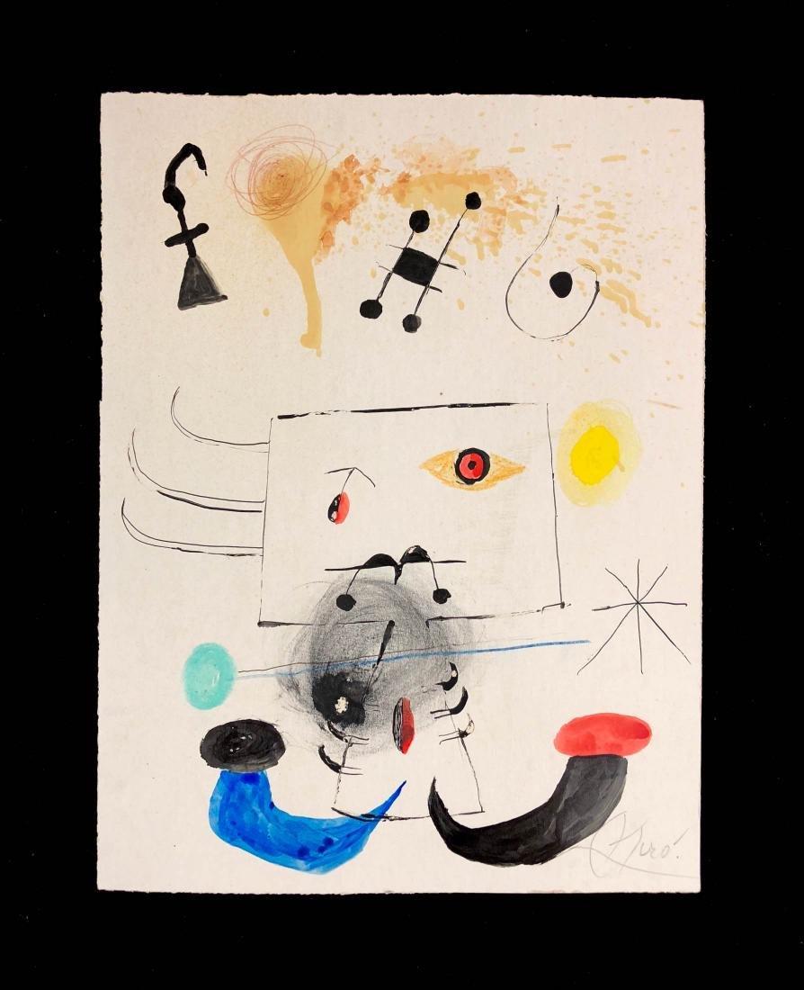 Joan Miro (Spanish, 1893-1973) -- Hand-Painted Mixed