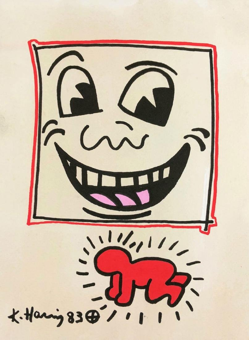 Keith Haring (American, 1958-1990) -- Hand Drawn Ink on - 2