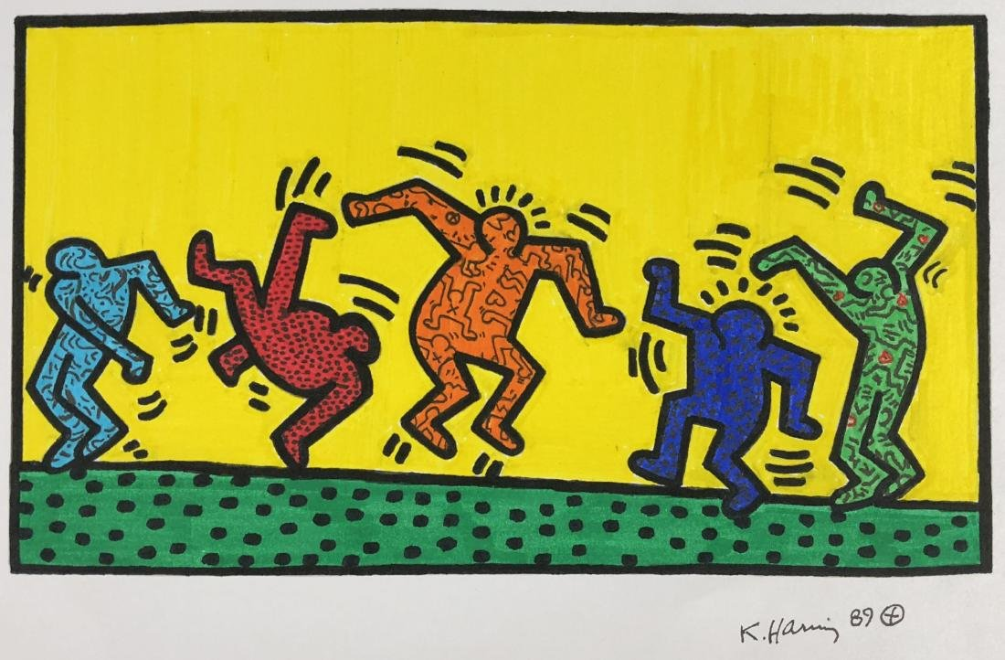 Keith Haring (American, 1958 -1990) -- Hand Painted - 2