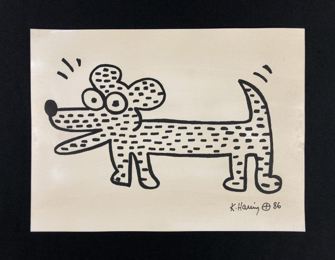 Keith Haring (American, 1958 -1990) -- Hand Painted Ink