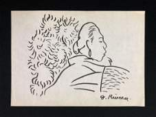 Diego Rivera Mexican 18861957  Hand Drawn Ink on