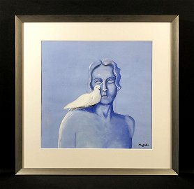 Rene Magritte (1898 - 1967) Painting w/ COA - style of