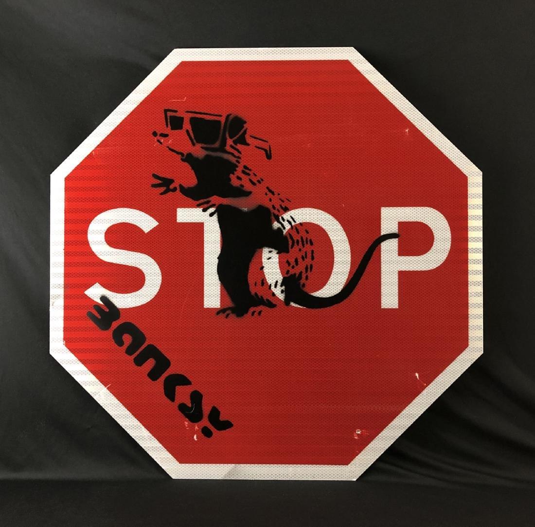 Banksy (1974 -) Large Aerosol Spray Painting - style of