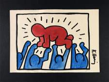 Keith Haring (American, 1958-1990)-Mixed Media Drawing