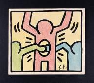 Keith Haring American 19581990Mixed Media Drawing