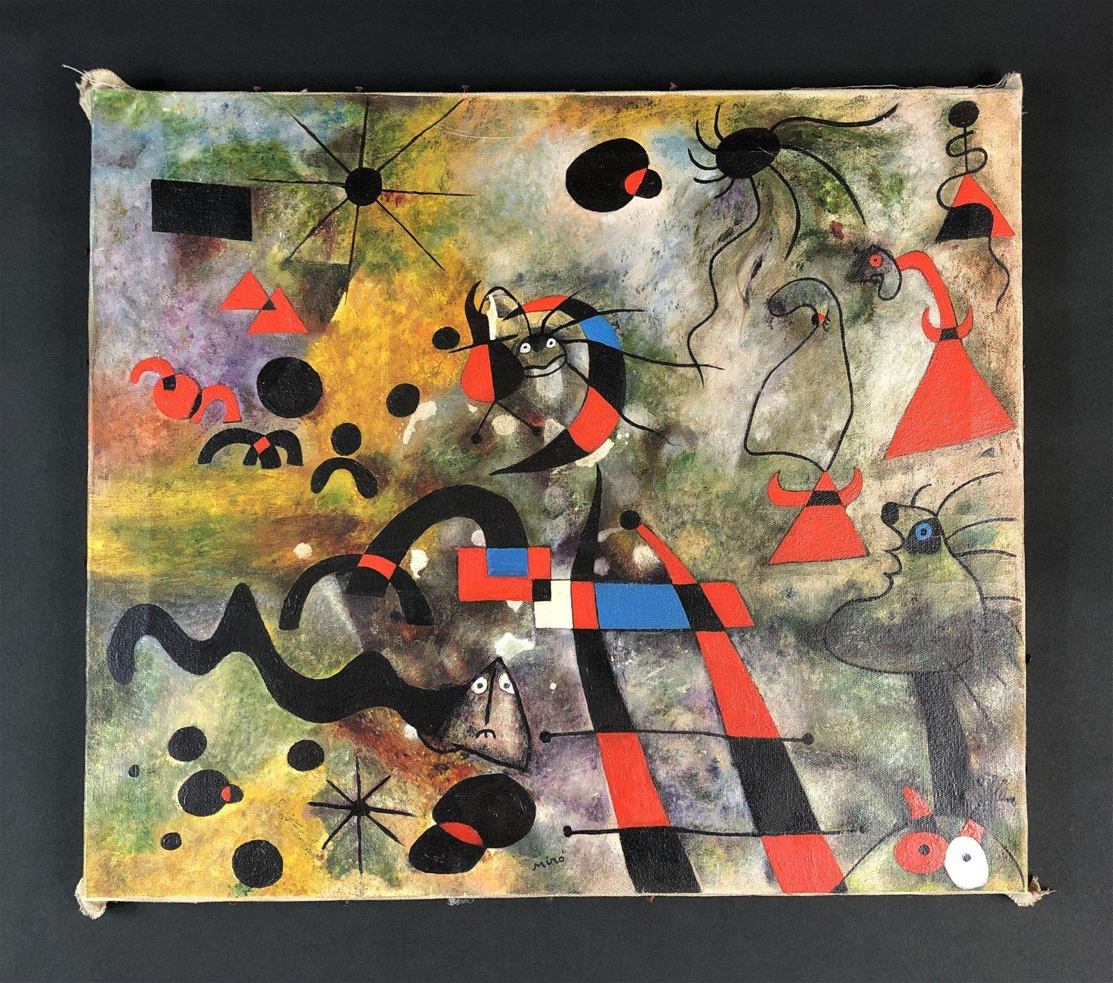 Joan Miro (Spanish, 1893-1983) - Acrylic on Canvas