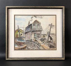 Thomas Hart Benton (1889 - 1975) -- Watercolor Painting
