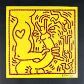 Keith Haring 1958 1990  Acrylic on Board