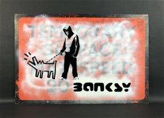 Banksy (British, 1974-) - Aerosol Stencil on Metal