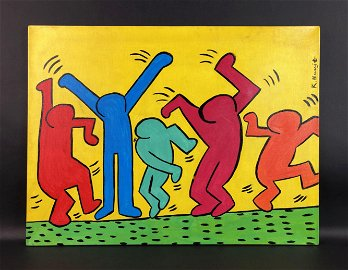 Keith Haring (American, 1958 -1990) - Acrylic on Canvas