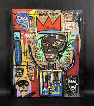 Jean Michel Basquiat (American, 1960-1988) - Acrylic