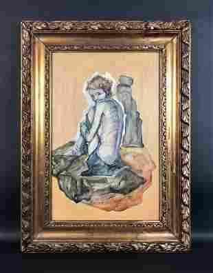 Egon Schiele (Austrian, 1890-1918) - Acrylic on Board
