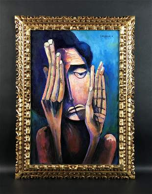 Oswaldo Guayasamin (1919-1999) - Oil on Canvas