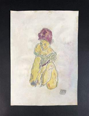 Egon Schiele (Austrian, 1890-1918) - Watercolor