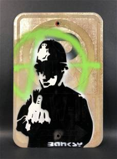 Banksy - Aerosol on Metal (style of)
