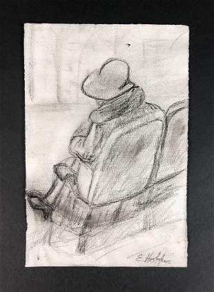 Edward Hopper - Graphite on Paper (style of)